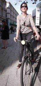 Image: Clare and her vintage bicycle